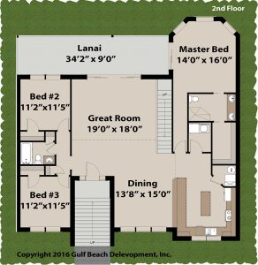 Blue Tide Coastal House Plan 2nd Floor