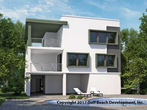 Ariel Island Coastal House Plan Rear